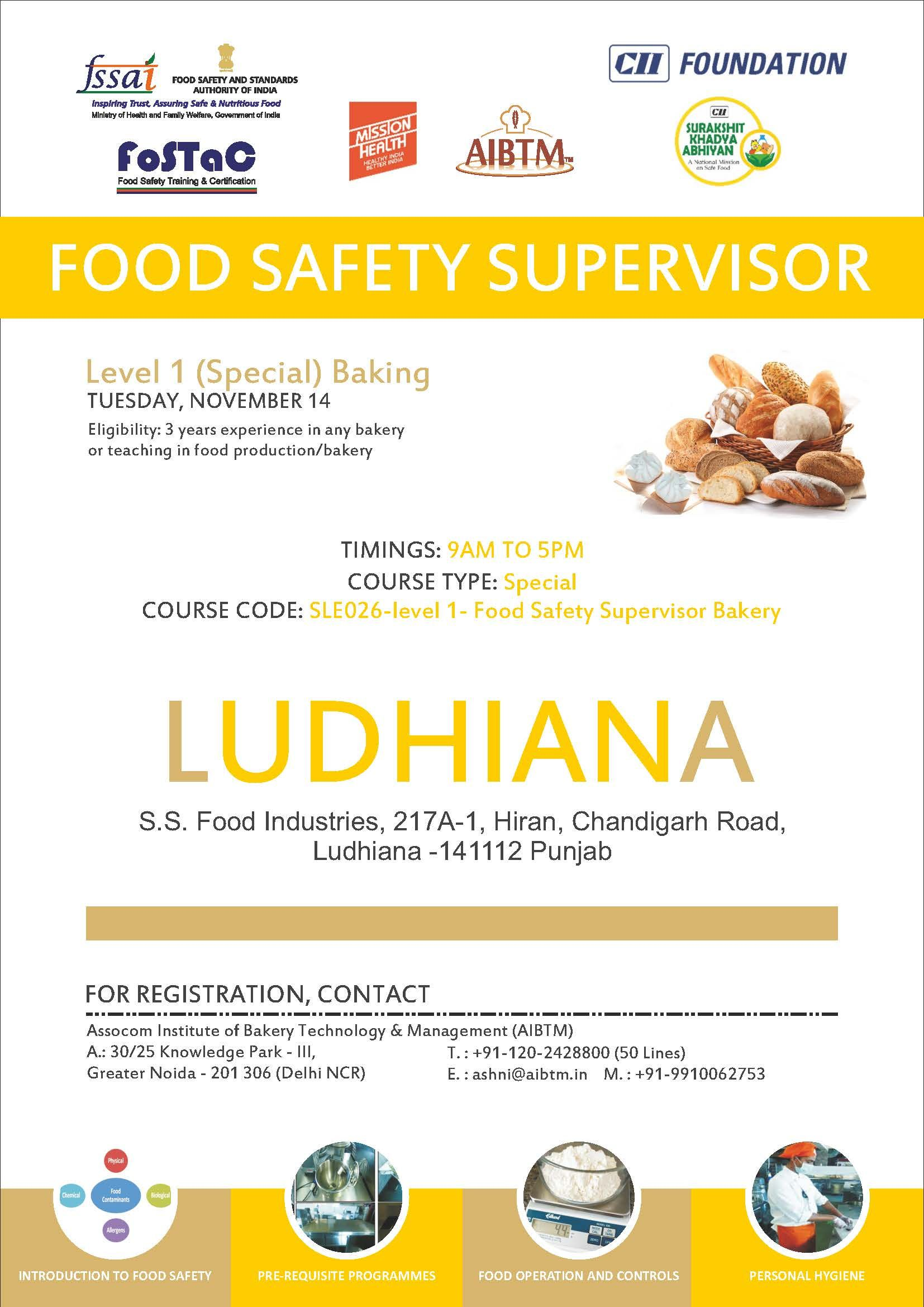 Enroll Food Safety Supervisor Training Program on Level 1