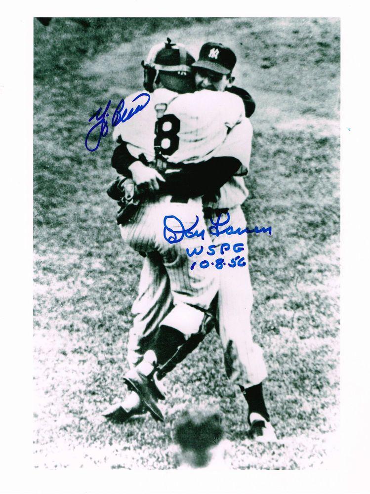 Don Larsen Yogi Berra Wspg Hug Photo Dual Auto New York Yankees Perfect Game Autographedphoto Don Larsen New York Yankees Yogi Berra