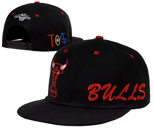 2a2ed60d96c6c NBA Chicago Bulls Snapback Hats Caps Tisa All Black 2211