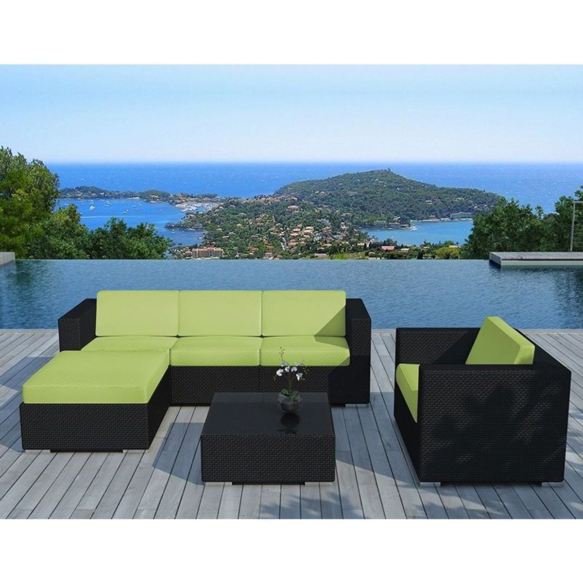 Stunning Salon De Jardin En Resine Tressee Vert Anis Photos ...