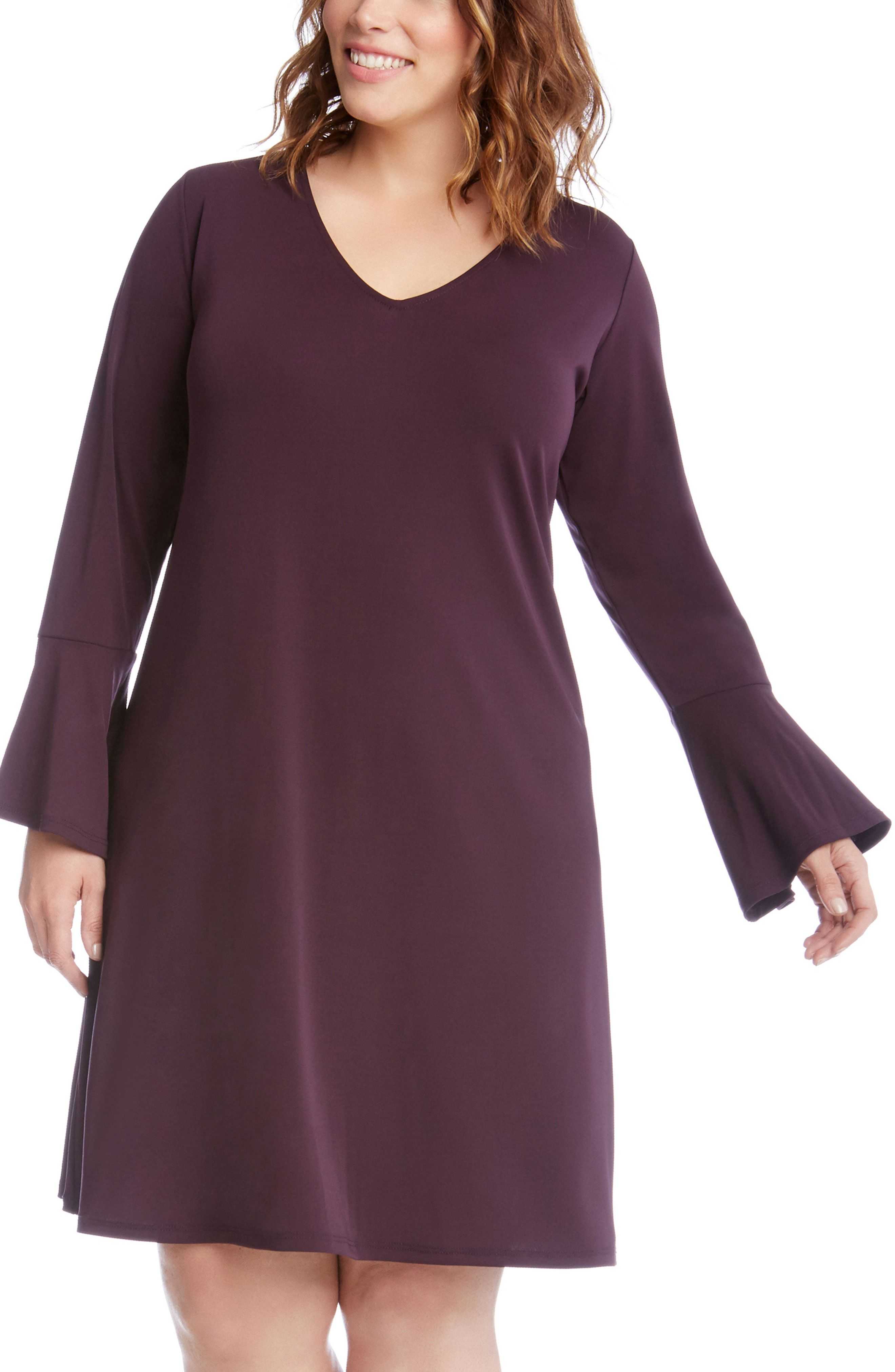 New Karen Kane Taylor Bell Sleeve A Line Dress Plus Size Black