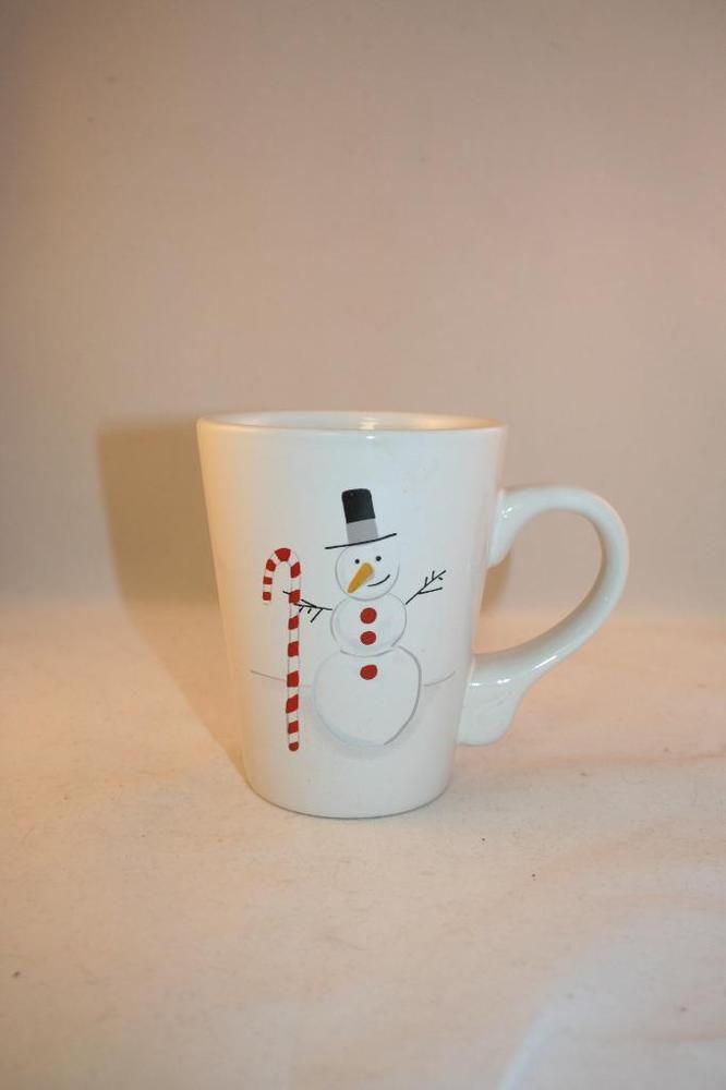 Snowman Candy Cane Coffee Cup Mug California Pantry Classic Ceramics Julie Scott Mugs Coffee Cups Candy Cane