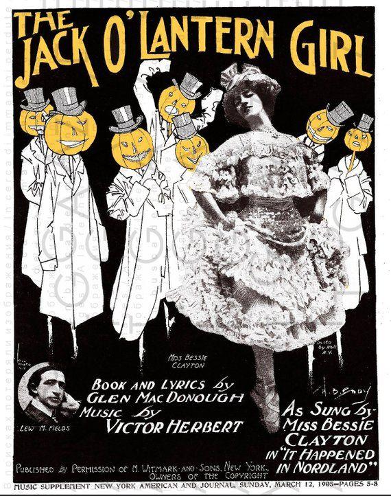 The Jack O'LANTERN Girl Stunning VINTAGE HALLOWEEN Sheet