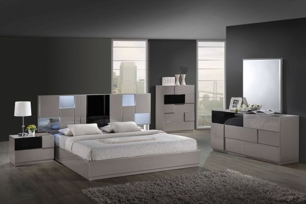 Bianca Grey Black High Gloss Mdf Wood Master Bedroom Set Contemporary Bedroom Sets Modern Bedroom Furniture Sets Modern Bedroom Furniture