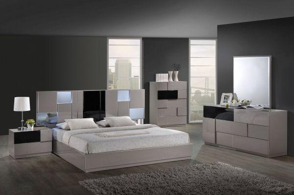 Bianca Grey Black High Gloss Mdf Wood Master Bedroom Set Modern