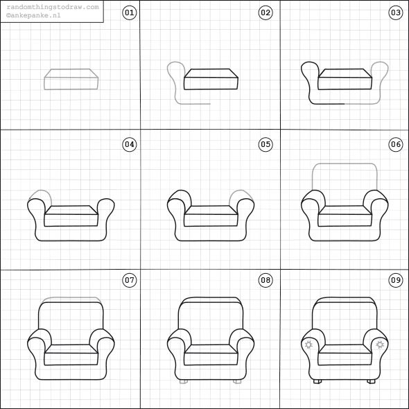 Learn How To Draw Fun Things With Easy Instructions Also Great For To Do With Kids Twice A Week New Random Things Easy Drawings Chair Drawing Doodle Drawings