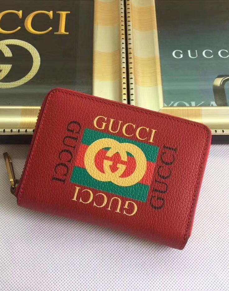 eed8cbb2841 This Gucci Print Red leather card case is a popular model which will be  more than