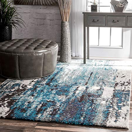 Amazon Com Nuloom Haydee Abstract Area Rug 8 10 X 12 Blue Kitchen Dining Contemporary Area Rugs Blue Gray Area Rug Blue Grey Rug 8 x 12 area rug
