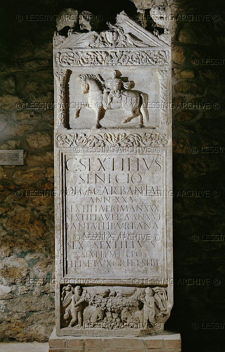 Tombstone of a cavalry officer stationed at Scarbantia (Sopron, Hungary). Liszt Ferenc Museum, Sopron, Hungary
