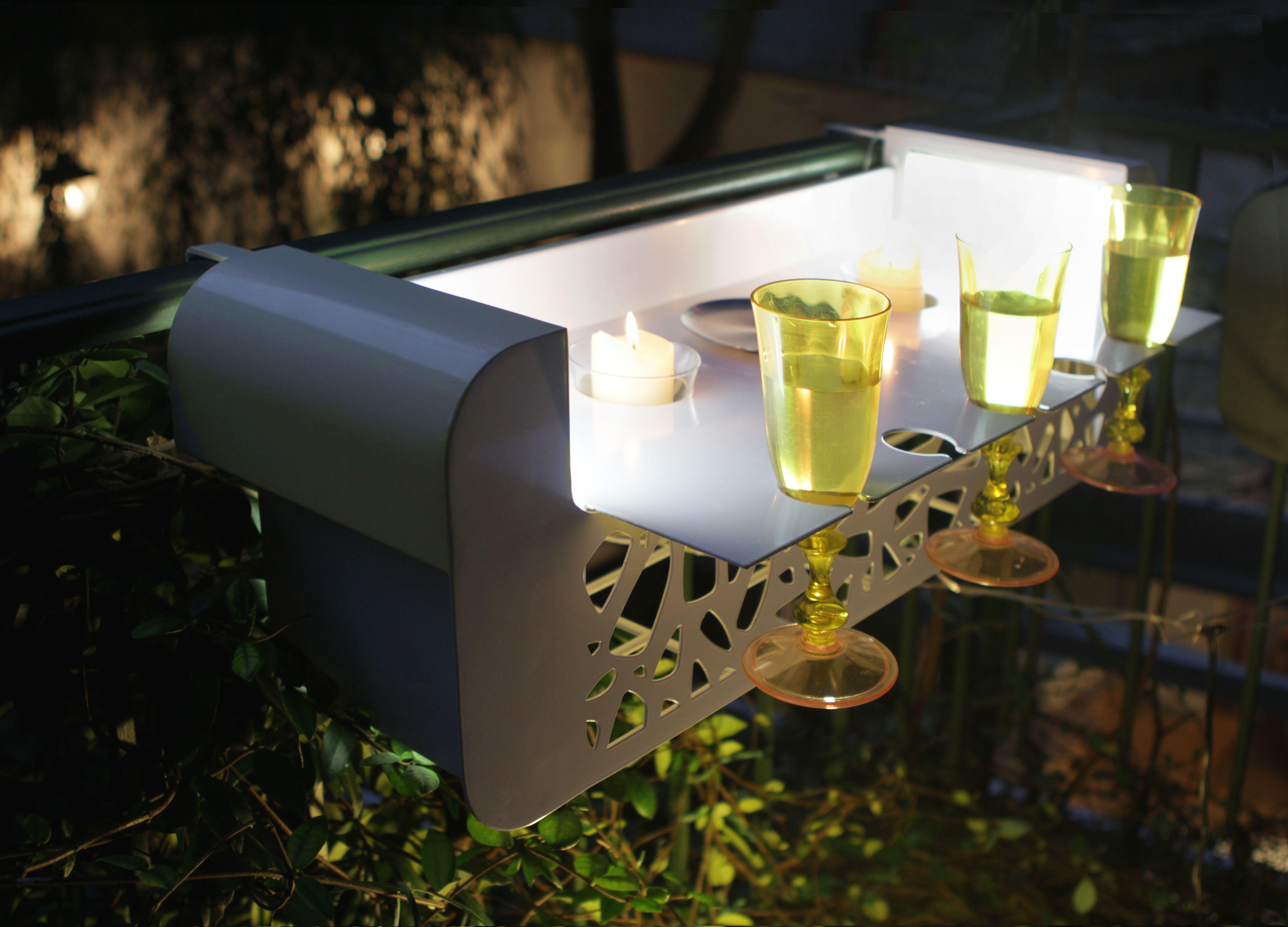 Fioriera da balcone/terrazzo con illuminazione a led in acciaio inox ...