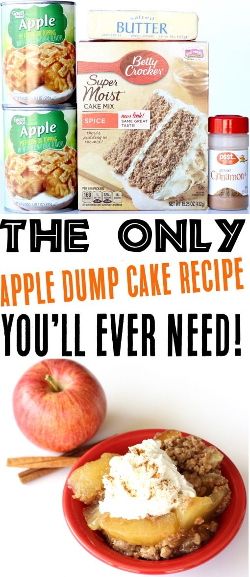 Crock Pot Apple Spice Dump Cake Recipe! {4 Ingredients}