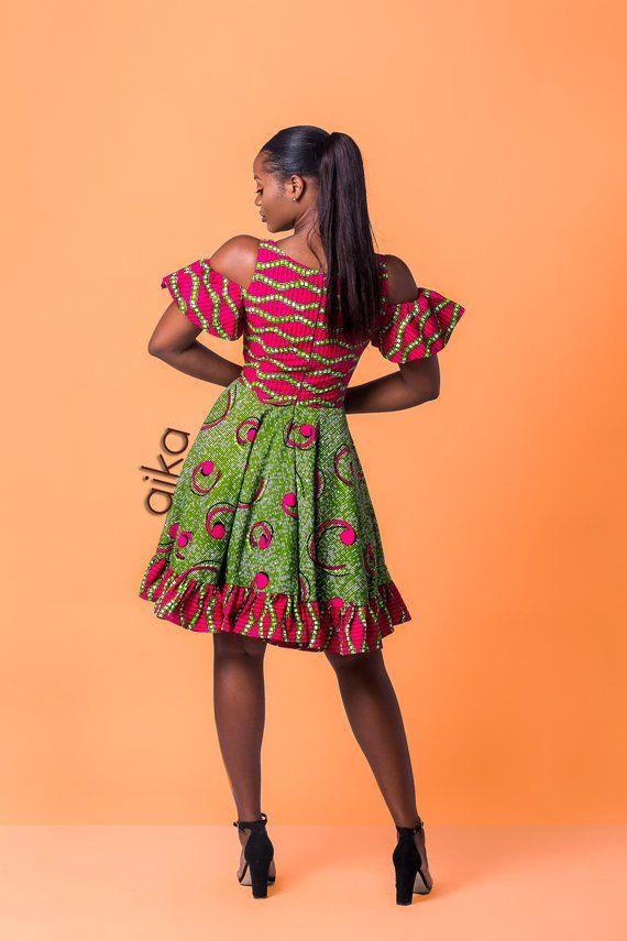 African print dress, African clothing, Ankara dress, Ankara clothing, Ankara Cold-Shoulder dress, Ankara summer dress #afrikanischeskleid