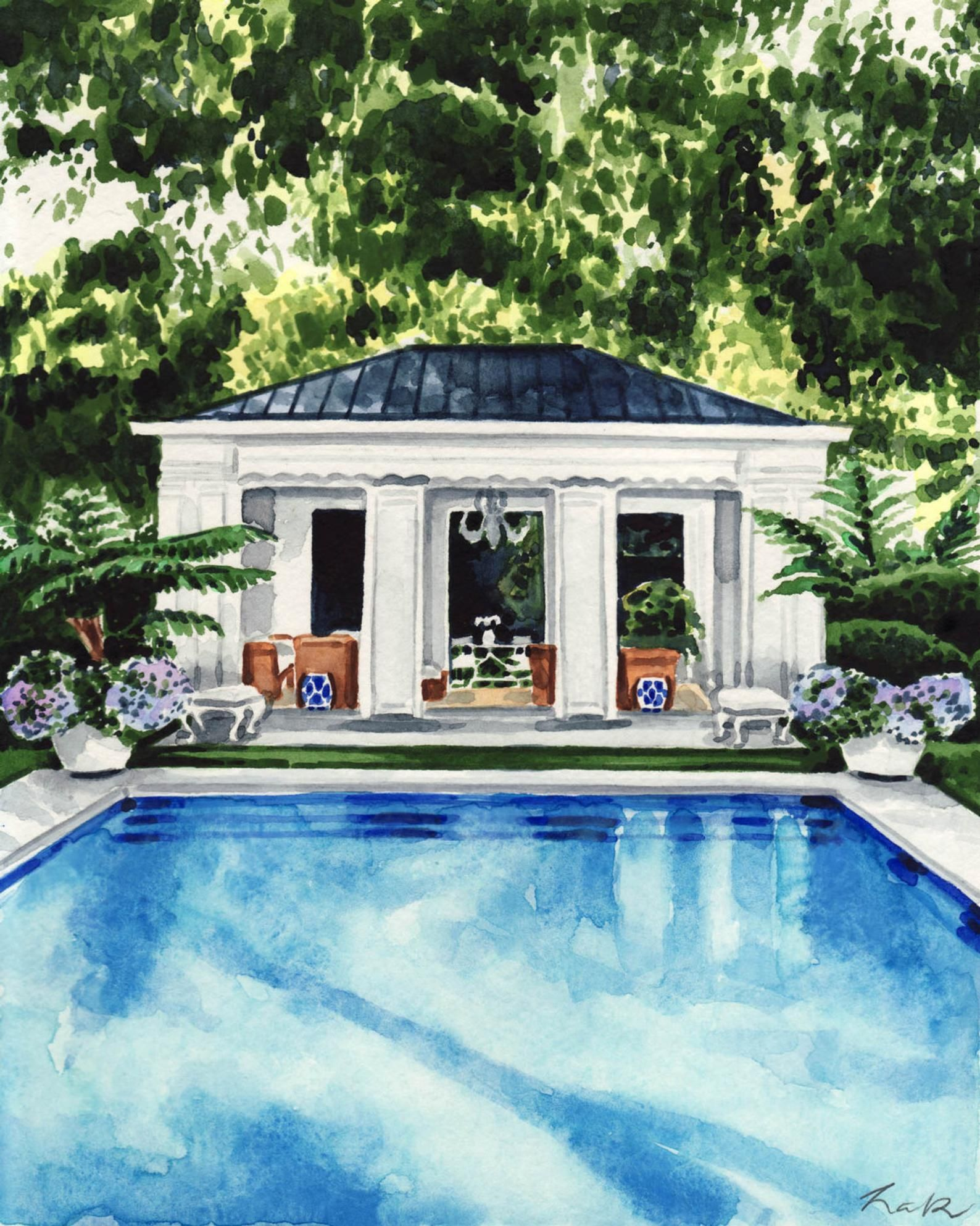 Pool House Art New England Painting Palm Trees Print Water Art Etsy Pool Houses Pool House Swimming Pools Backyard