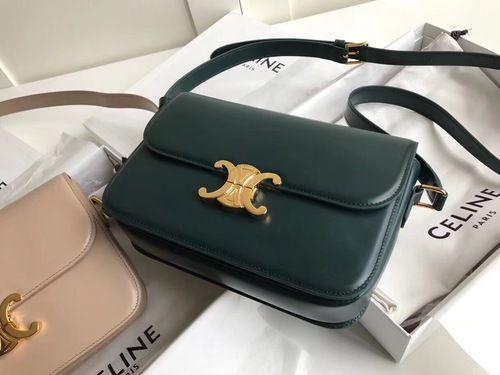 2ec0e21ae38b Celine MEDIUM TRIOMPHE BAG IN SHINY CALFSKIN GREEN in 2019   Bags ...
