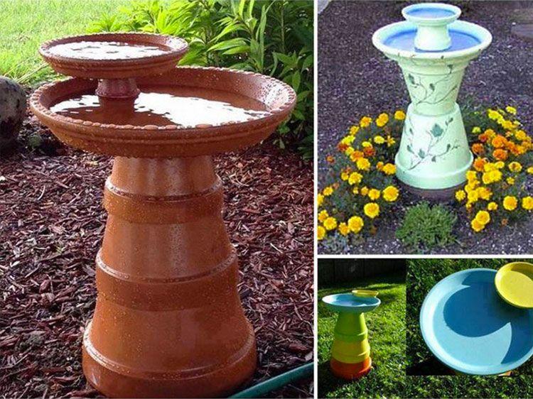 decorazioni da giardino con vasi di terracotta bird feeders