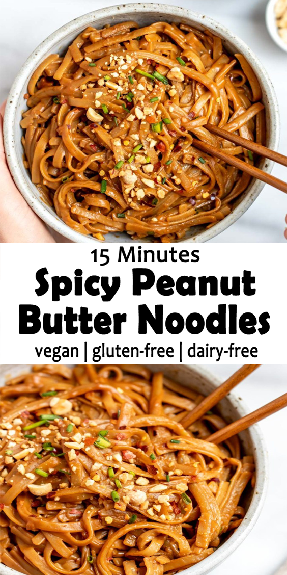 Photo of 15 Minutes Spicy Peanut Butter Noodles Recipe