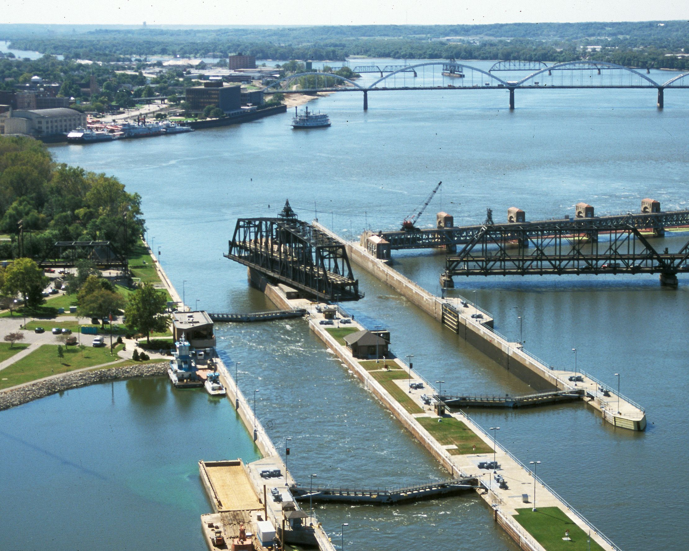 The Rock Island Arsenal Bridge is the only swinging