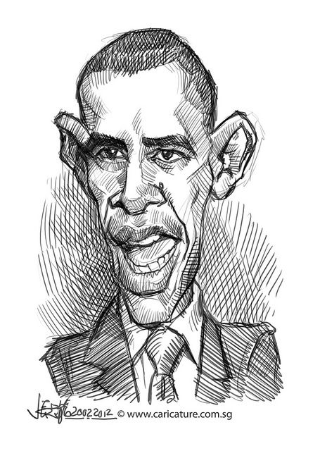 Obama Characterture Drawing