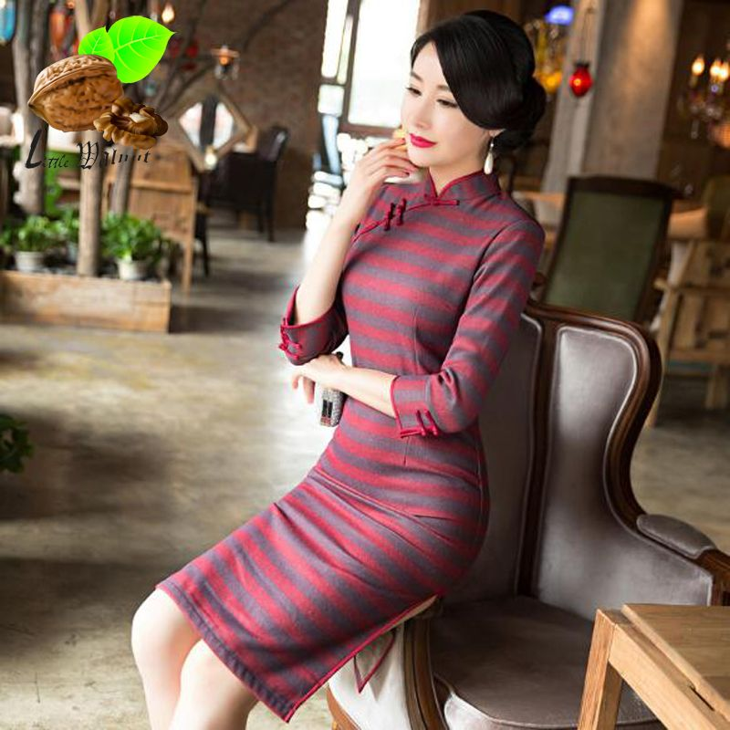 Winter Autumn Women s Satin Print stripe Cheongsam Cotton Short Qipao Lady Chinese  Oriental Dresses Traditional striped 77cf75d8b2a5