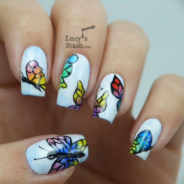 Lucy S Stash Watercolour Aquarelle Butterflies Nail Art In