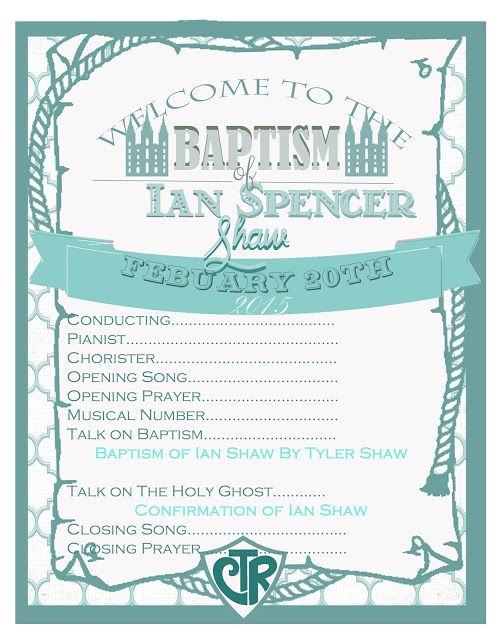 Free LDS Baptism Program Template Pink, Blue  Yellow Party