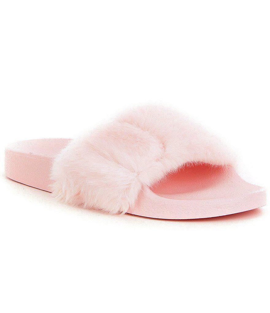 light pink steve madden softey faux fur slide on sandals