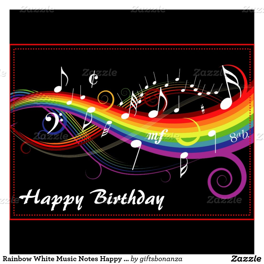 Rainbow White Music Notes Happy Birthday Card Zazzle Com Rainbow Music Music Images Music Notes