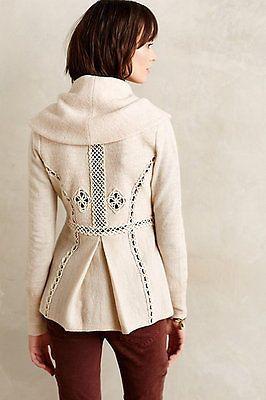 NWT Anthropologie Soutache Trim Jacket 100% Wool Shawl Collar Neutral M