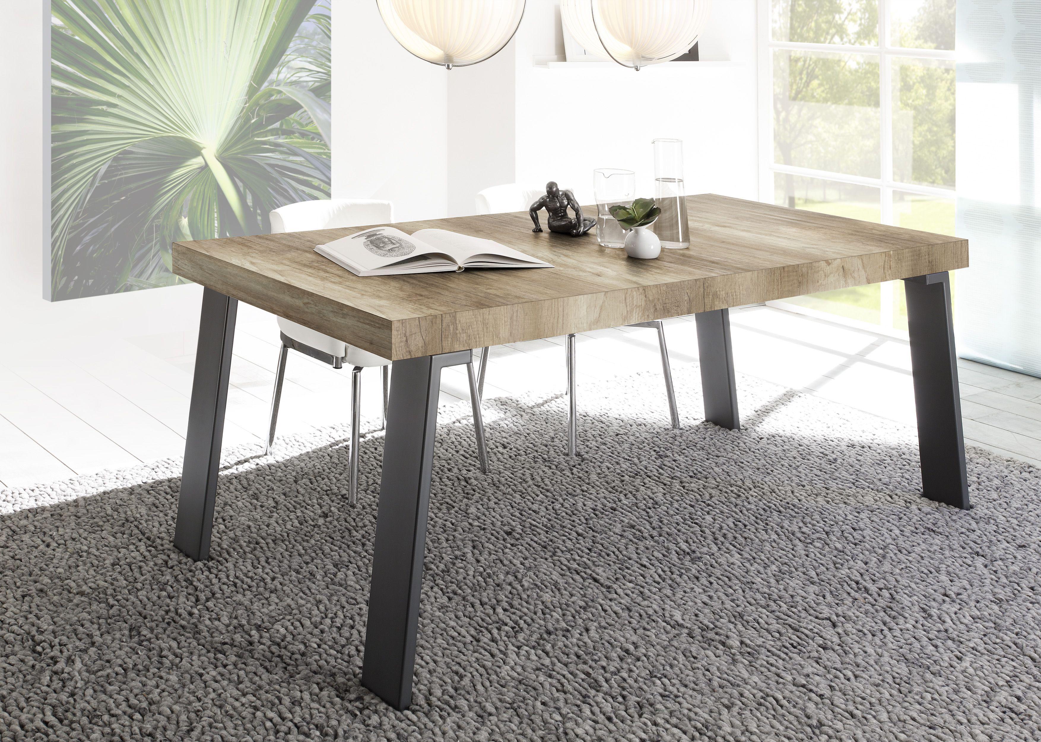 Massivholzmöbel modern  Esstisch 168 X 88 Cm Canyon Oak Nachbildung/ Metallfüsse Woody 12 ...