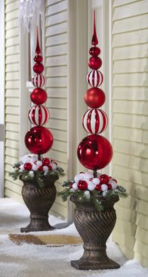Red White Christmas Ornament Ball Finial Topiary Stake 22 Decoration Noel Decoration Noel Exterieur Deco Noel Exterieur