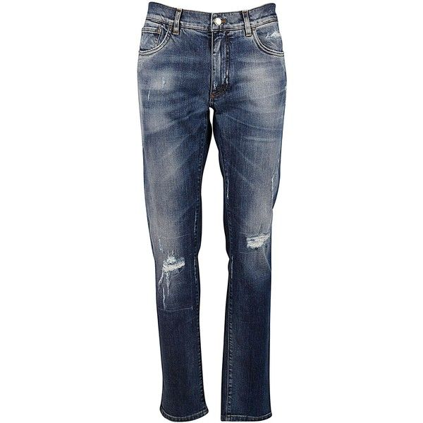 Dolce & Gabbana Distressed Jeans ($370) ❤ liked on Polyvore featuring men's fashion, men's clothing, men's jeans, variante abbinata, dolce gabbana mens jeans, mens ripped jeans, mens button fly jeans, mens destroyed jeans and mens distressed jeans