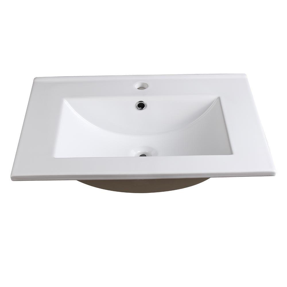 Fresca Allier 24 In Drop In Ceramic Bathroom Sink In White With