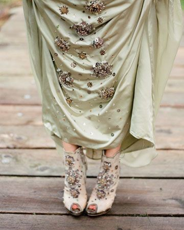 Celery-colored silk faille gown with a hand-beaded Florentine fresco motif and Christian Dior booties