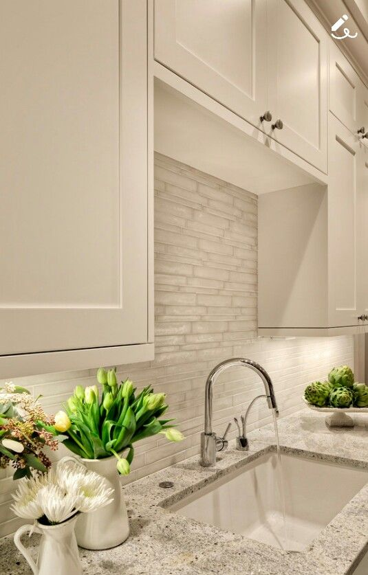 White Dove Cabinetry Colour And Beautiful Backsplash Kitchen