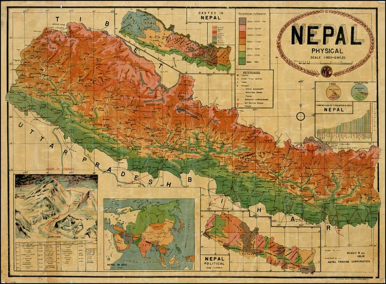 Physical Map of Nepal This is the first map we have ever seen which