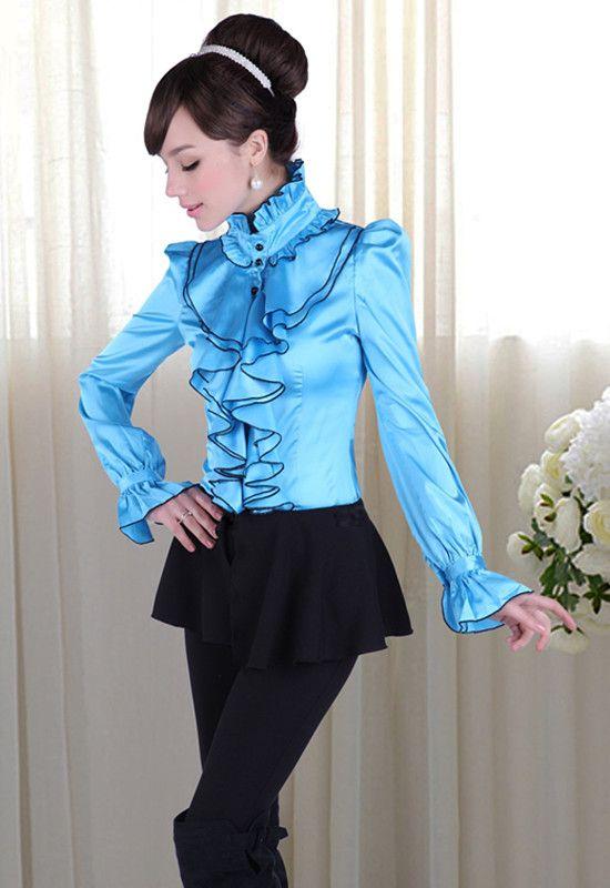 Ruffled satin blouse … | Beautiful blouses, Pretty blouses, Girly ...