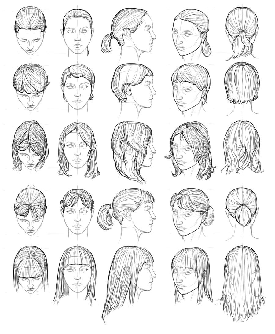 Female hair style references by Farvus on ConceptArt.org 1/3