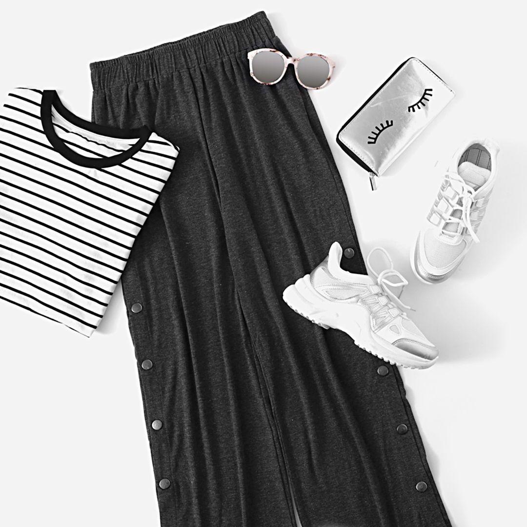 Mix & Match Elastic Waist Button Solid Pants