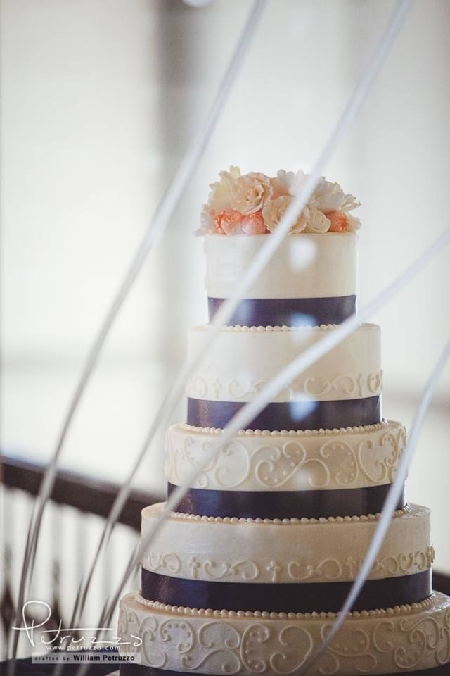 Navy Blush And White Wedding Cake