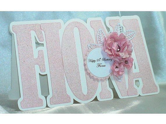 Handmade Children's Birthday Card, female birthday card, girls birthday card, Name shape birthday card