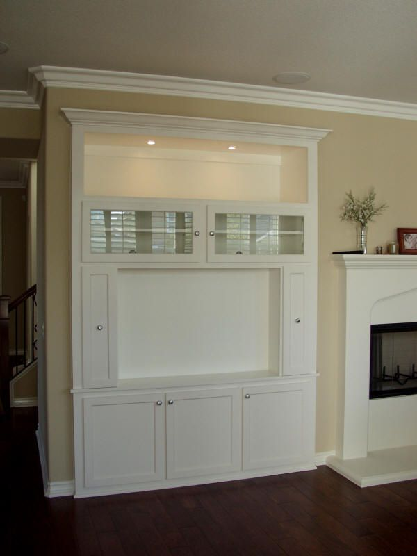 Built In Tv Niche This Unit Features Gl Doors Over The