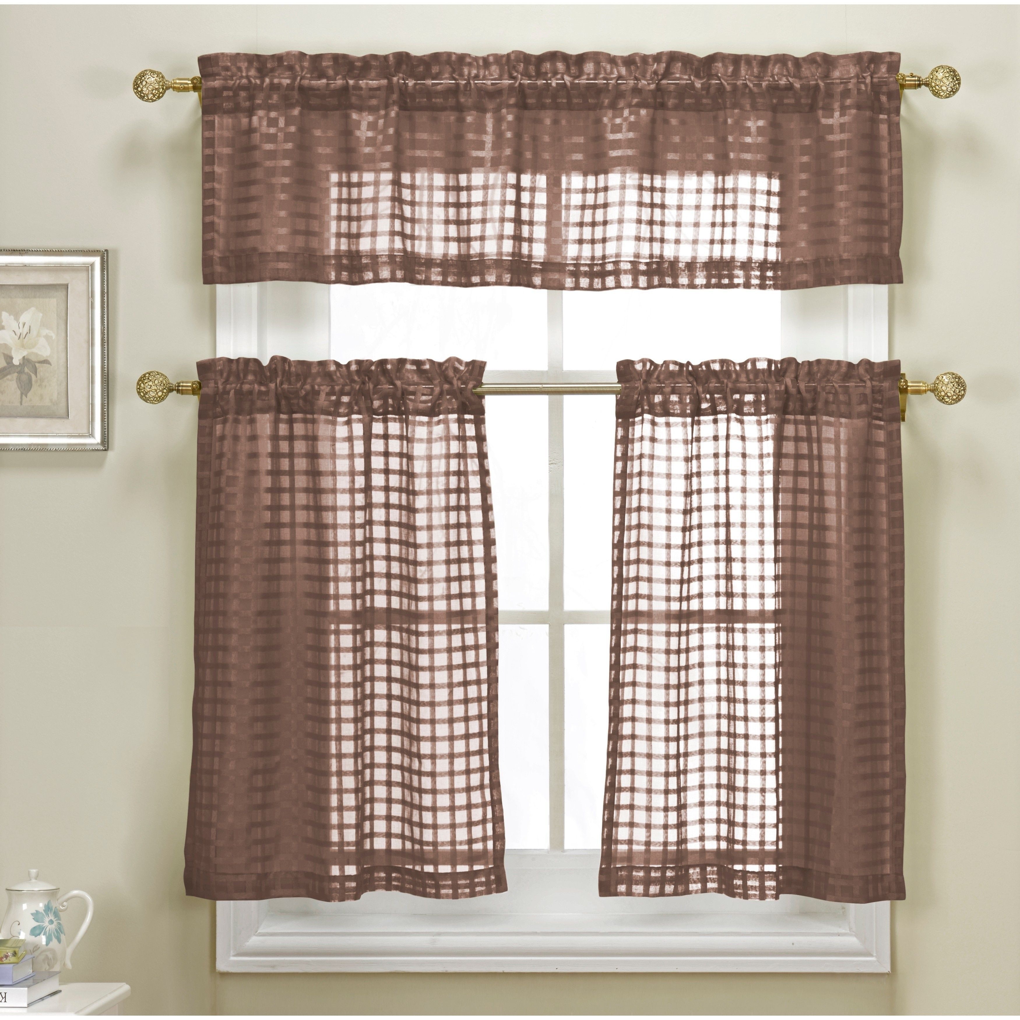 Duck river cleo check faux linen kitchen curtain chocolate brown