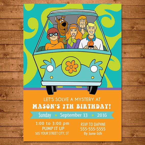 Scooby Doo Baby Shower Theme: Scooby Doo Invitation Blue & Green Scooby By