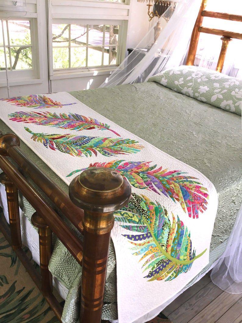 Dream Catcher Bed Runner- PDF quilt pattern - applique - feather - bed runner - JoAnn Hoffman