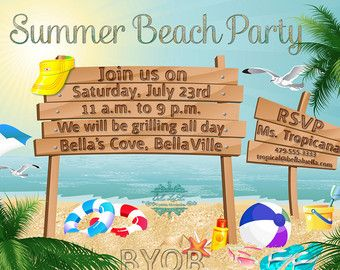 1000+ images about Beach Invitations on Pinterest | Birthday party ...