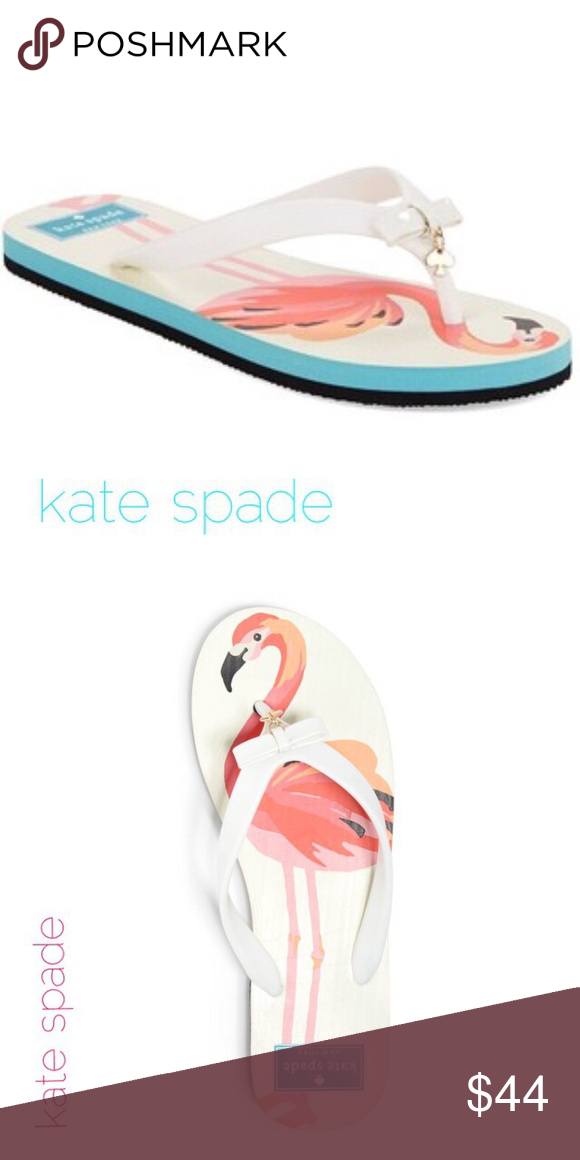 bcd3a7c7462f NWT-kate spade Fifi flamingo print flip flop bow Fabulously playful kate  spade flamingo graphics are so fun to wear. Little white bow accented with  gold ...