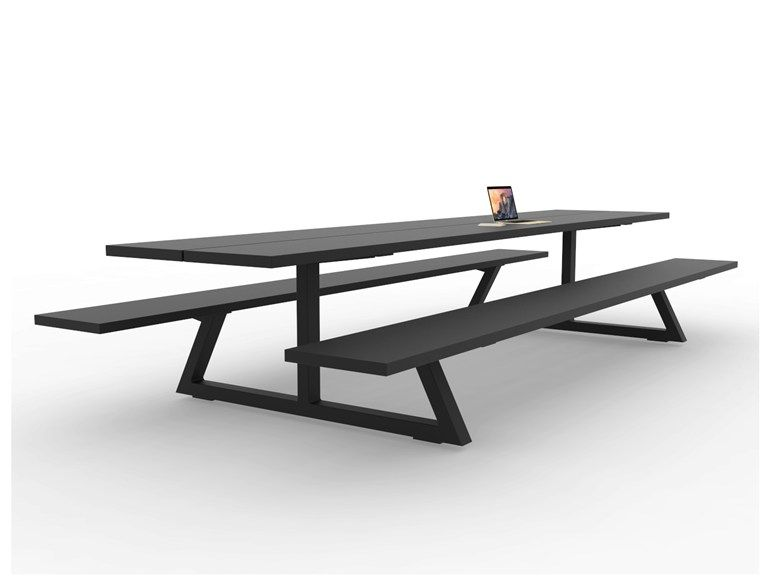 Rectangular Picnic Table With Integrated Benches BUZZIBREEZE By - Black metal picnic table