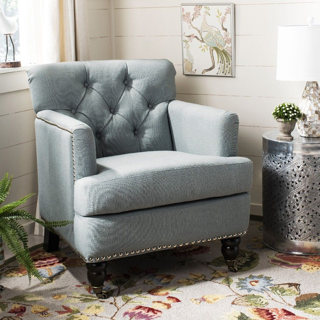 Colin Tufted Club Chair In Sky Blue Espresso Safavieh Hud8212k