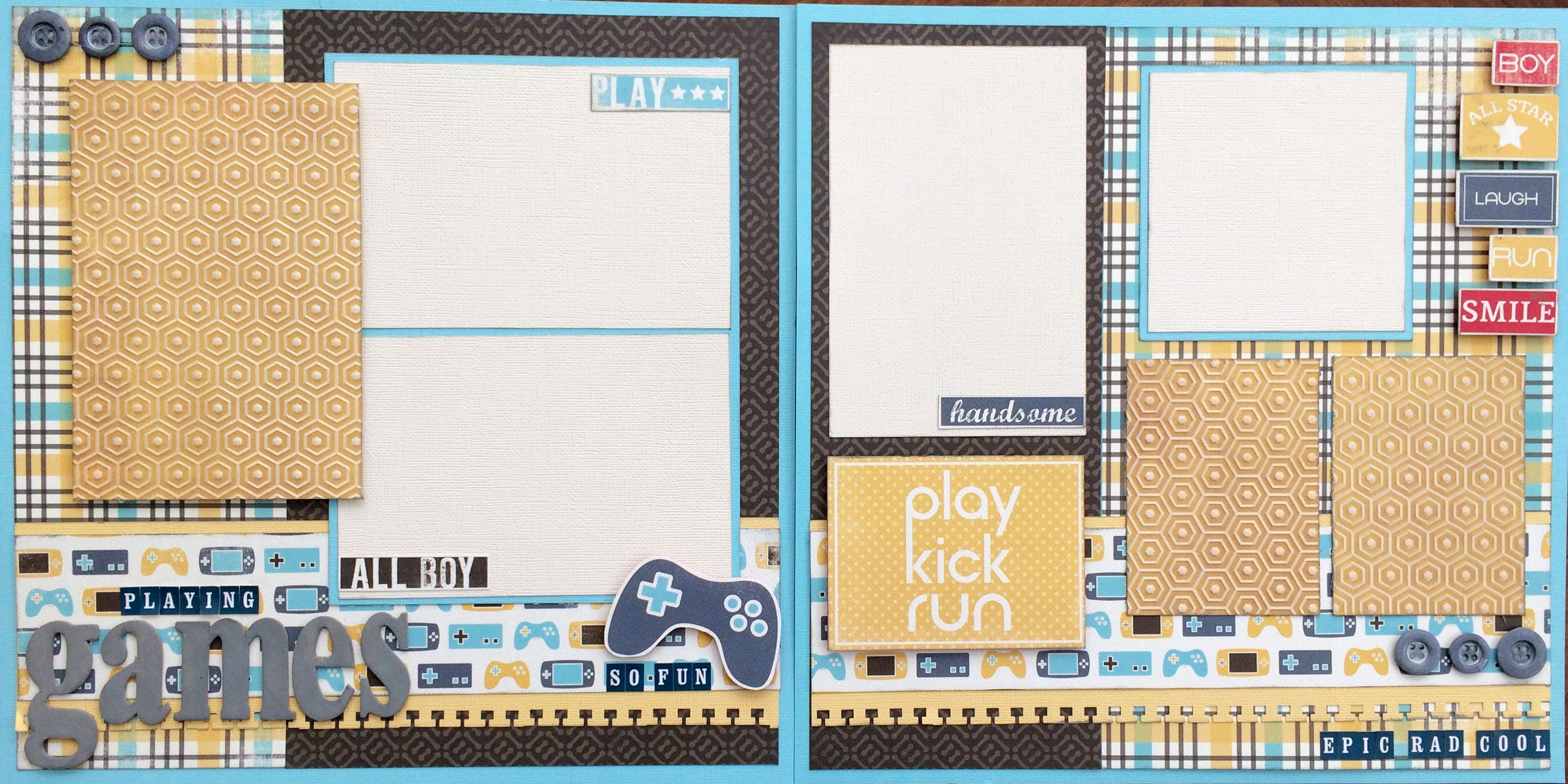 Love this layout using the Boy oh Boy line from Carta Bella.  Great for any gaming system enthusiast!