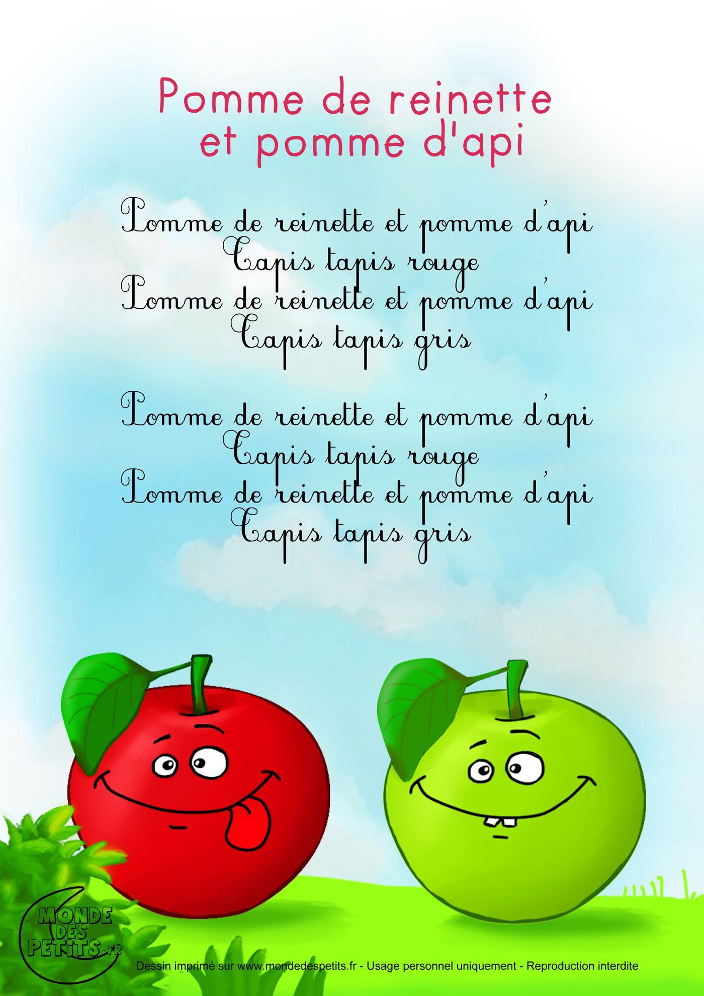 Paroles Pomme De Reinette Et Pomme D Api Comptines
